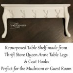 Repurposed Table Shelf   Queen anne Legs