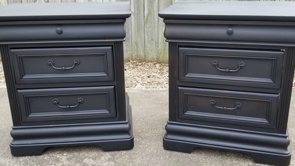 vintage black nightstands after