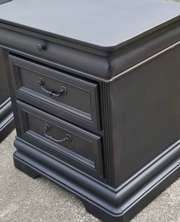 vintage black nightstands with gentle distressing