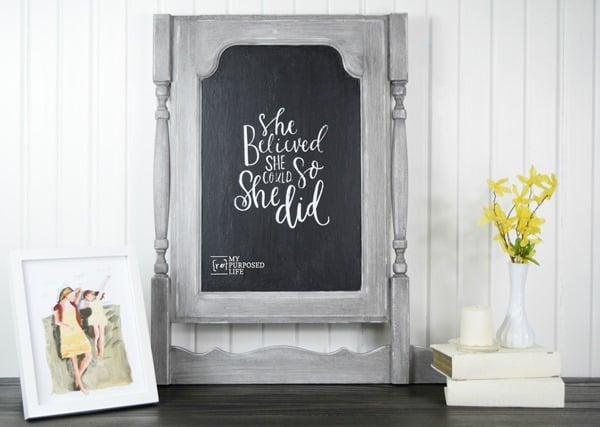 chalkboard made from a cabinet door to look like a dresser harp MyRepurposedLife