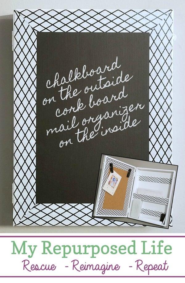 mail organizer chalkboard cork board MyRepurposedLife