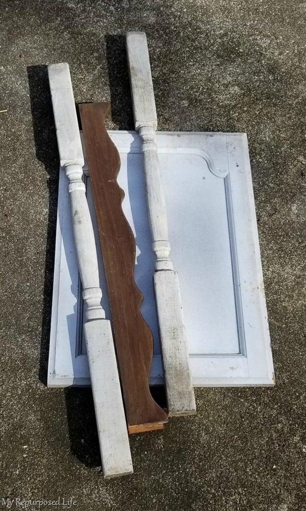 random bits and parts for faux dresser harp chalkboard