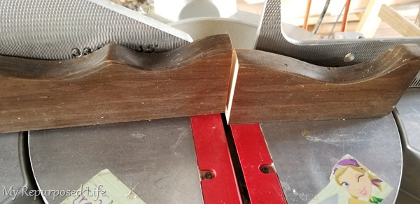 trim piece on miter saw