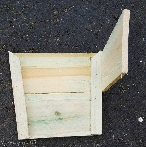 add cut fence boards to pre-made sides