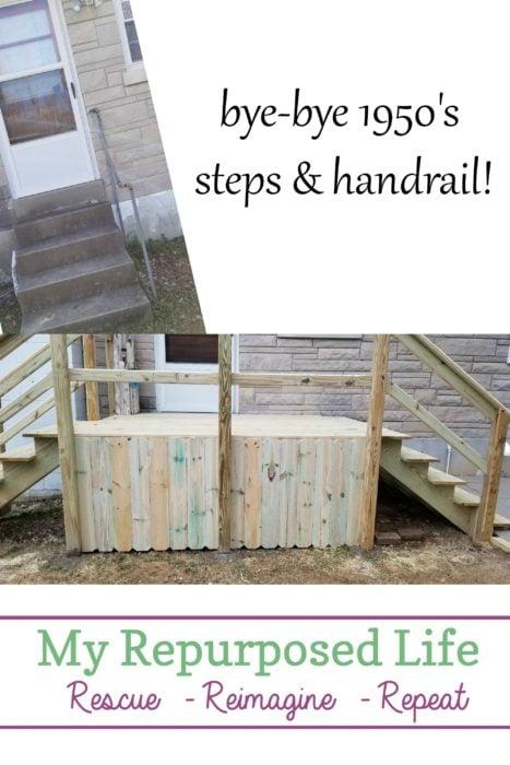 back door steps high off the ground get a new deck MyRepurposedLife