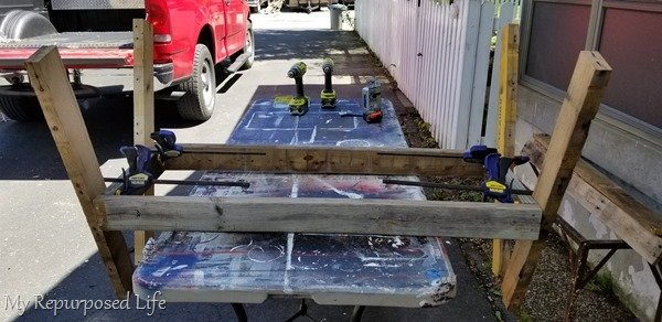 design stage of pallet loveseat bench