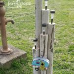Dollar store Solar Lights on Landscape Timbers