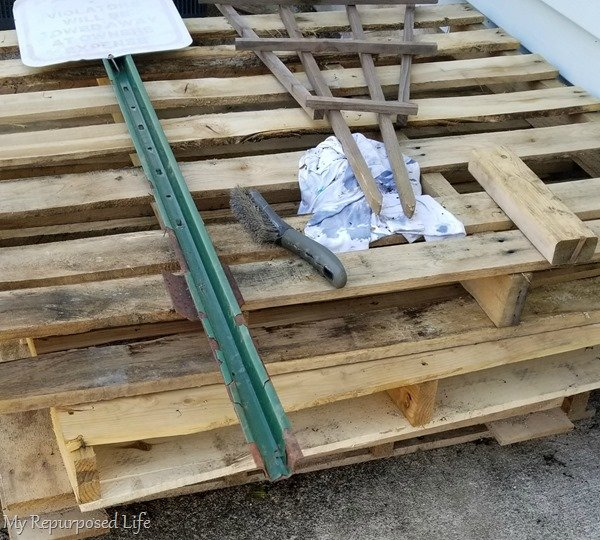 pallets waiting for repurpose