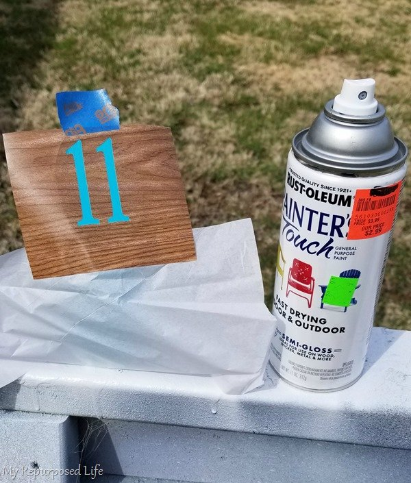 spray paint contact paper number stencil for molkky pins