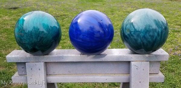 three diy gazing balls