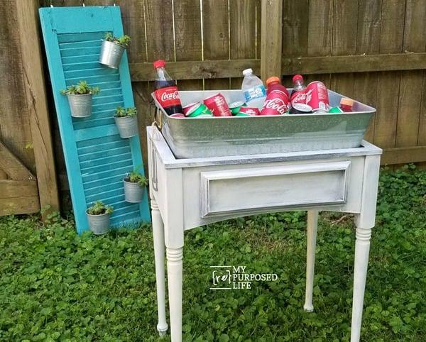 drink station galvanized tub and sewing machine cabinet MyRepurposedLife