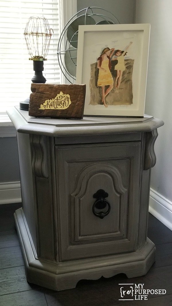 gray side table makeover MyRepurposedLife