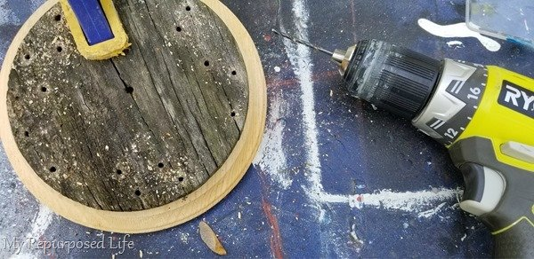 how to mark holes for making new wind chime top piece