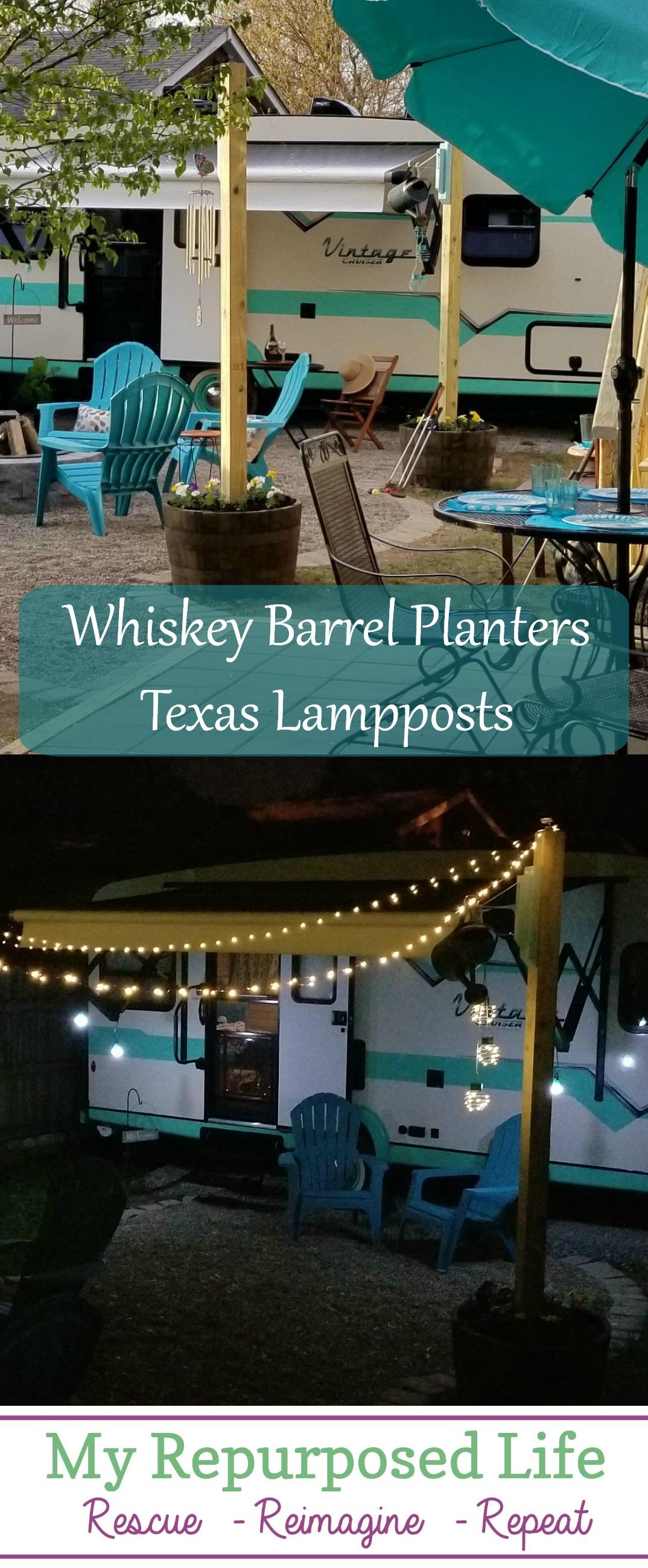 Whiskey Barrel Light Post  Tiny Solar Lights Tips for securing 4x4's in a whiskey barrel, with the cutest solar lights! No electricity needed! #texaslamppost #myrepurposedlife #outdoor #living #lighting #solar #camper #backyard via @repurposedlife