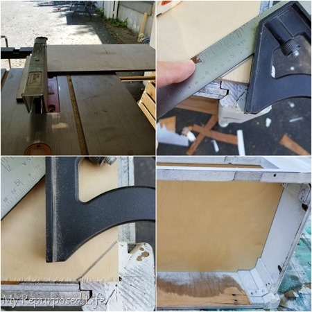 make a new bottom for sewing machine cabinet
