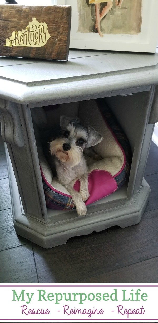 This easy side table makeover makes a perfect bed bed or hideaway if you open the door or even remove it! #MyRepurposedLife #repurposed #furniture #sidetable #pets via @repurposedlife