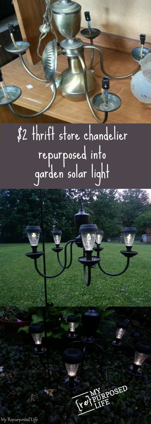 I Love this thrift store chandelier repurposed into a patio or garden solar light by #myrepurposedlife #repurposed #chandelier #outdoors #light #solar via @repurposedlife