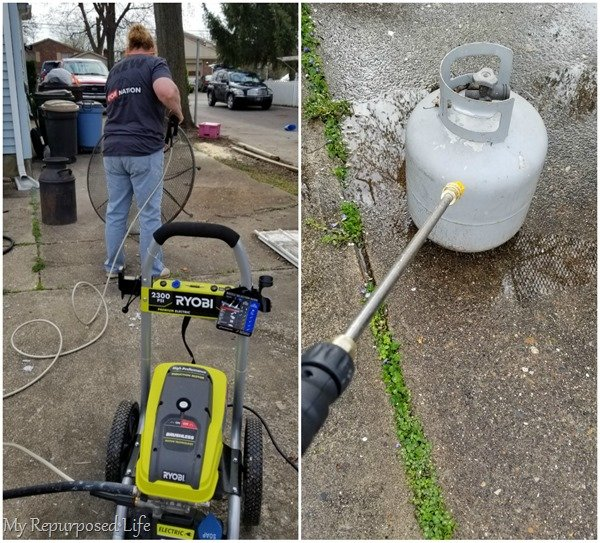 pressure washer cleans grime