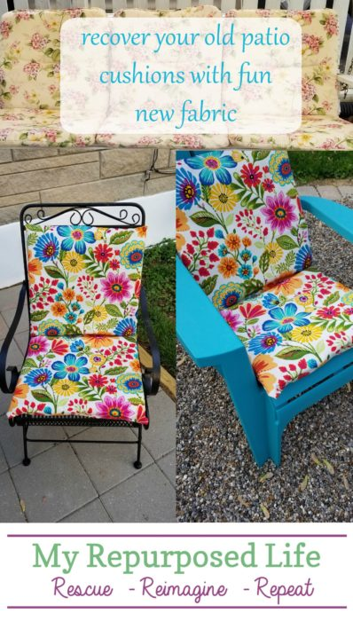 recover your old patio cushions with fun new fabric MyRepurposedLife