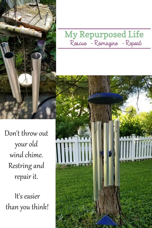 save the wind chimes How to restring and repair your favorite wind chimes. Tips for painting, and repairing.#MyRepurposedLife #repurposed #outdoors #windchime via @repurposedlife