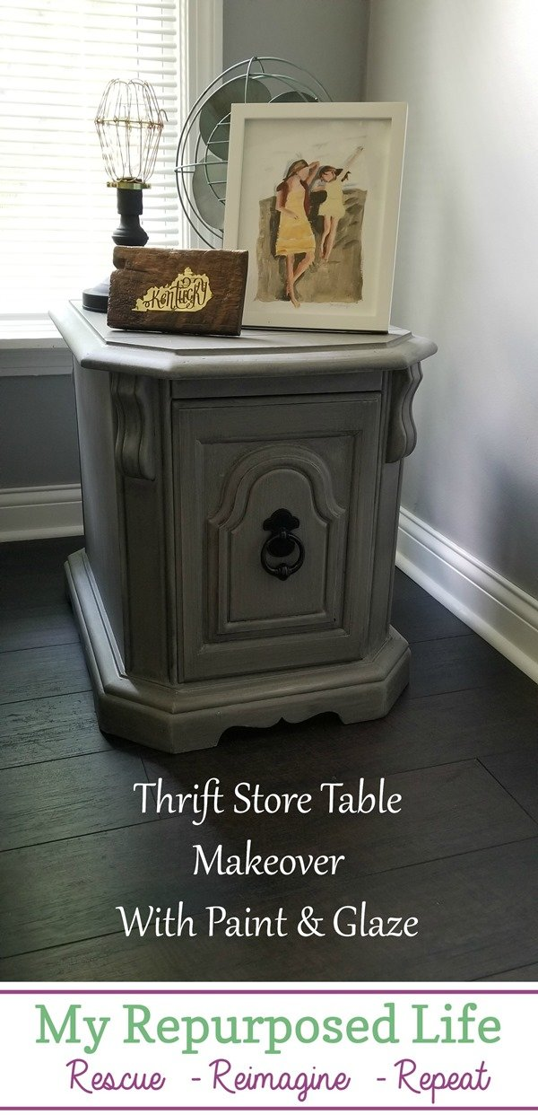 thrift store table makeover with paint and glaze MyRepurposedLife