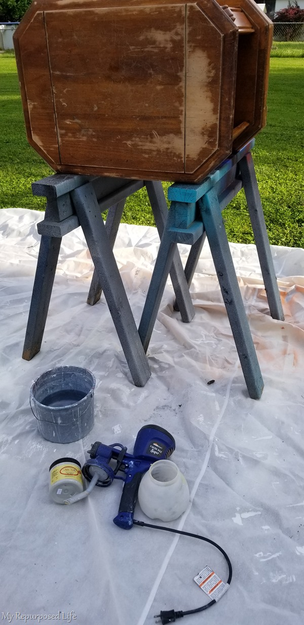 using a finish max paint sprayer to do a makeover on thrift store furniture