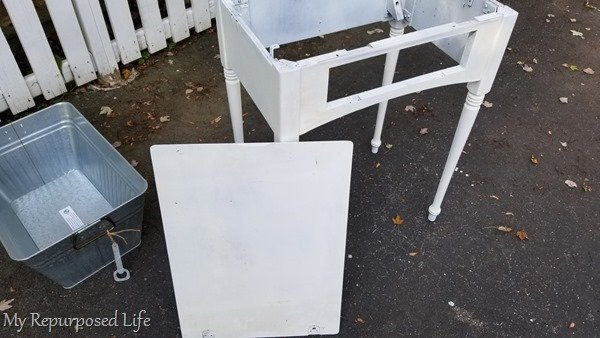 white sewing cabinet drink station