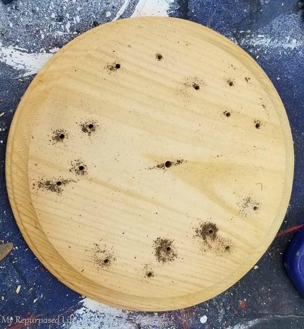 wooden round base