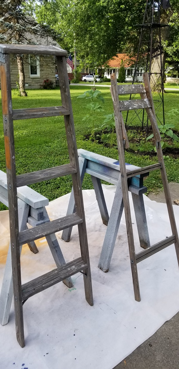 lean project against sawhorses
