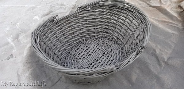 painted wicker basket with paint sprayer