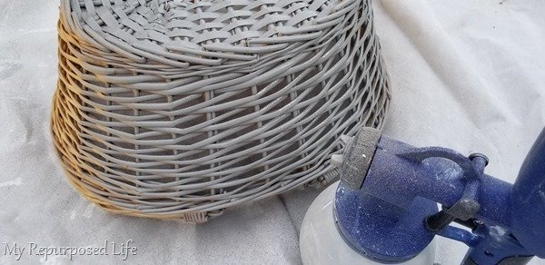 start painting wicker basket while upside down