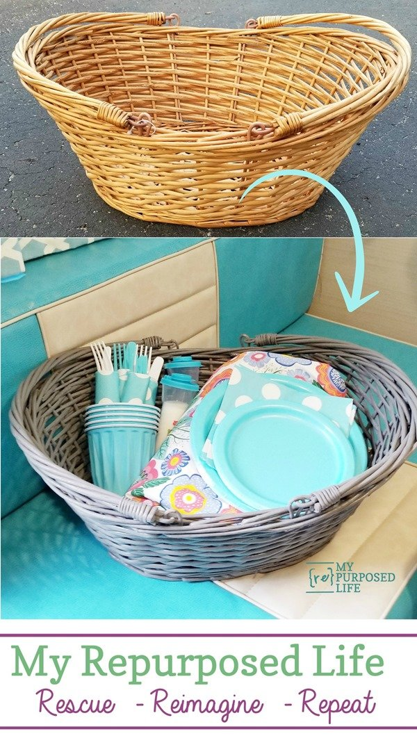 It doesn't get any easier than painting a wicker basket with a paint sprayer. It's the best way to get complete coverage. This double handed basket is perfect for picnics! #MyRepurposedLife #thriftstore #wicker #basket #makeover #paint #project via @repurposedlife