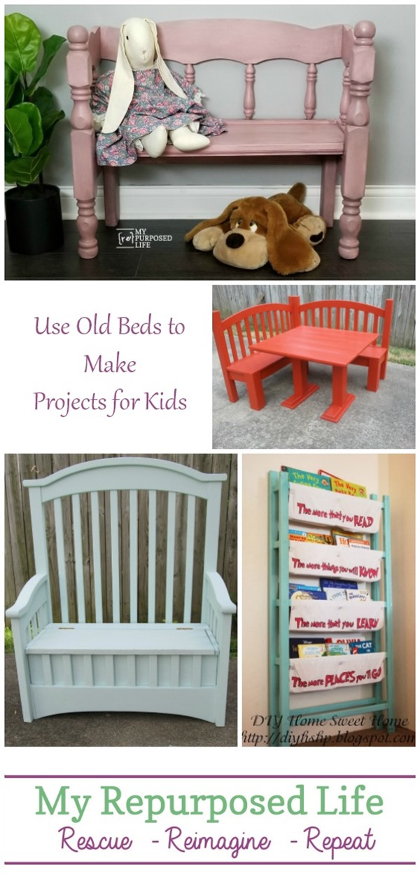 Fun projects to make for your children out of old beds and cribs. Toy boxes, benches and more with detailed instructions on making your own DIY project. #MyRepurposedLife #Repurposed #furniture #projects #kids via @repurposedlife