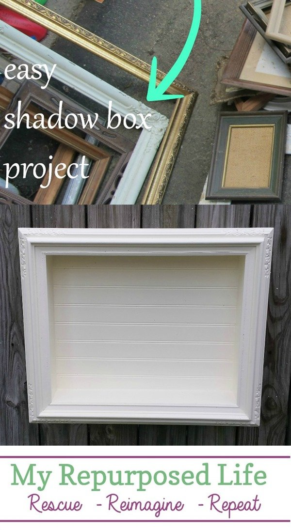 Step by step directions on how to make an easy shadow box out of a thrift store picture frame.  The possibilities are endless. #myrepurposedlife #repurposed #pictureframe #shadowbox #diy #easy #project  via @repurposedlife