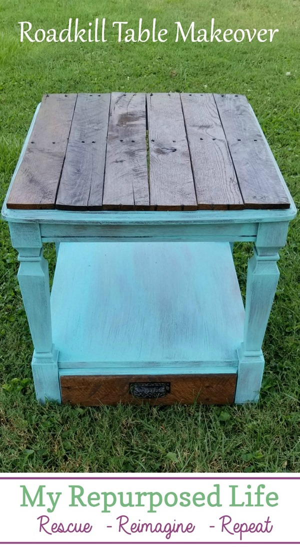 A roadkill rescue, this side table needed some cleaning, repairs and TLC.  Reclaimed pallet boards make a new top for the formerly topless table. #MyRepurposedLife #roadkill #refabbed #furniture #makeover #rustic #table  via @repurposedlife