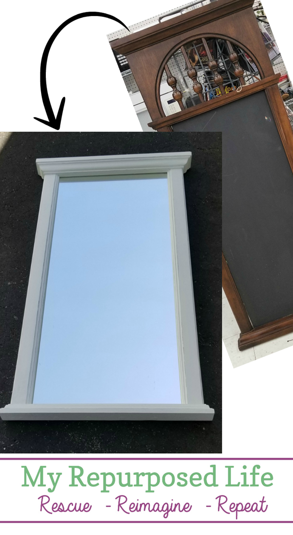 Ann old thrift store mirror gets a new look after a small trim, and paint! Someone had painted over the mirror with chalkboard paint, but now the new look will go with any home decor. #myrepurposedlife #thirftstore #mirror #makeover #repurposed #furniture #homedecor via @repurposedlife