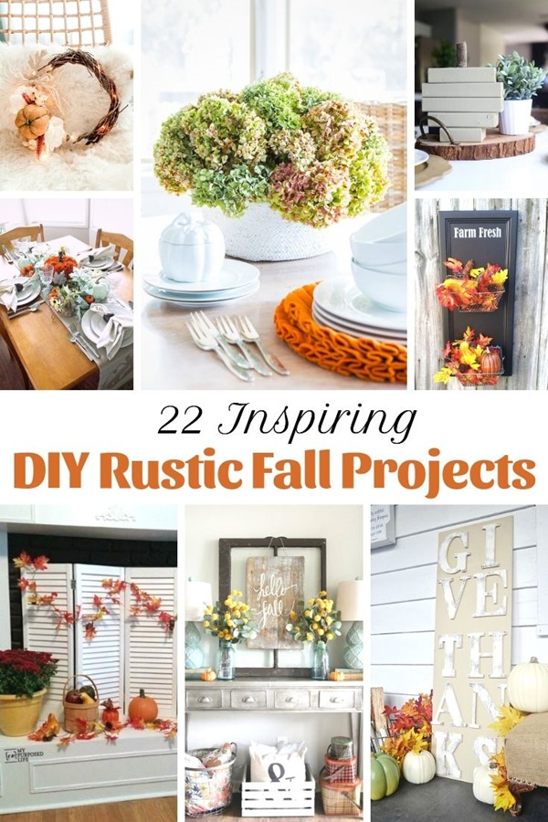 22 Inspiring DIY Rustic Fall Projects Many of these projects can be done using thrift store finds, dollar store items or reclaimed wood. That makes these projects very budget friendly. What will you make for Fall? #MyRepurposedLife #fall #decor #thriftstore #dollarstore #reclaimed #wood #repurposed via @repurposedlife