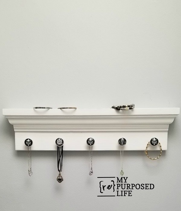 diy jewelry shelf made from mirror molding MyRepurposedLife