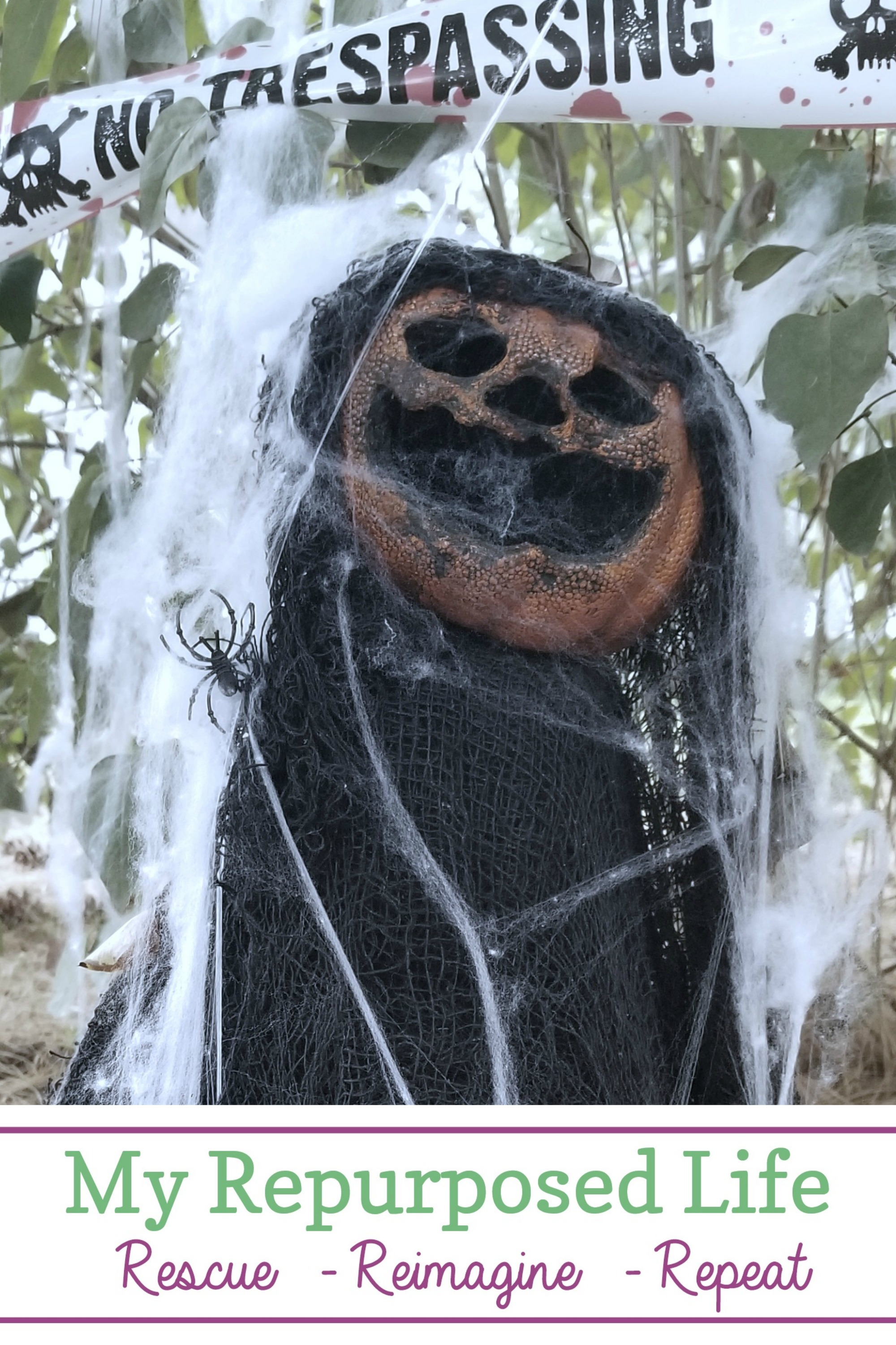 Creepy scary pumpkin head! Easy project to make with dollar store finds and a heat gun! For just a few dollars, you'll have a one of a kind halloween decor for your porch or yard. Detailed instructions included. #myrepurposedlife #halloween #spooky #decor #dollartree #diy via @repurposedlife