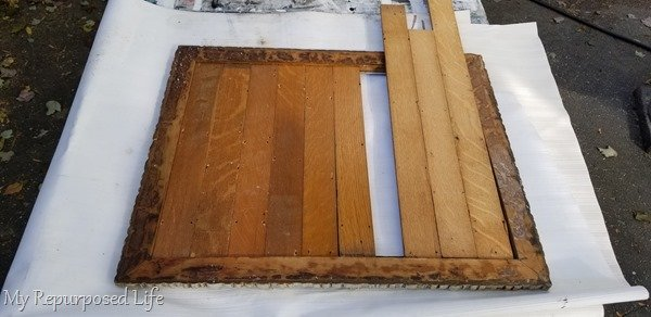 cut old oak plank flooring to fit frame