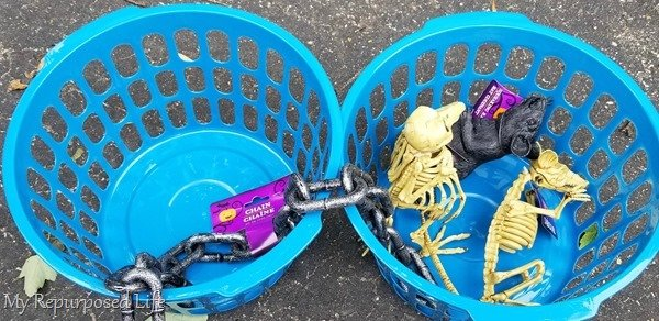 dollar store baskets skeletons and rats