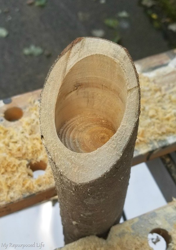 drill deep into the branch candle holder with forstner bit