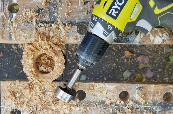 forstner bit drills hole for ring box