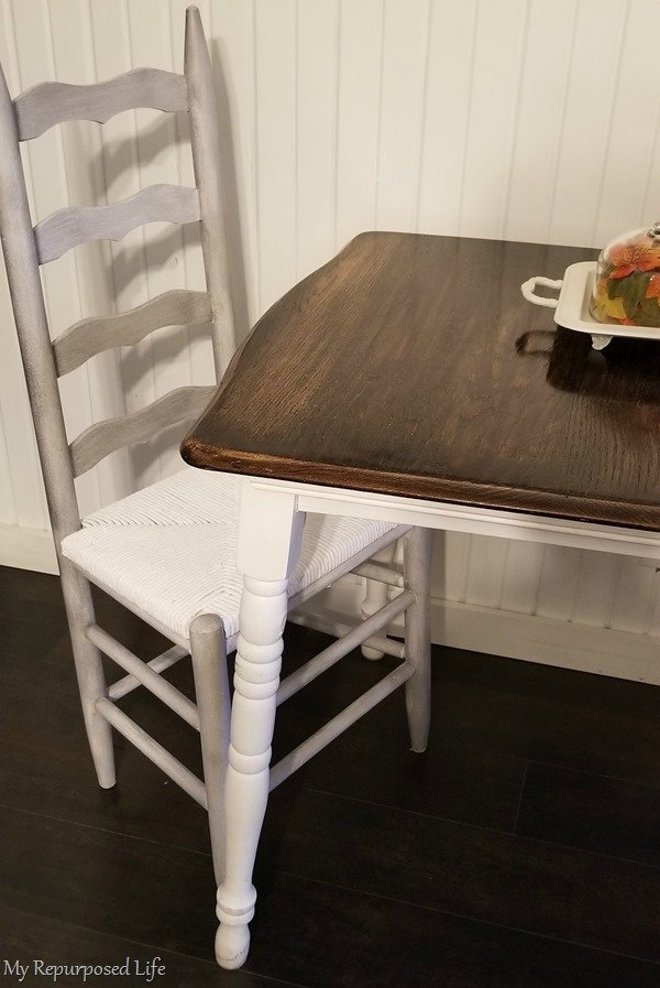makeover ladder back chair painted white and glazed
