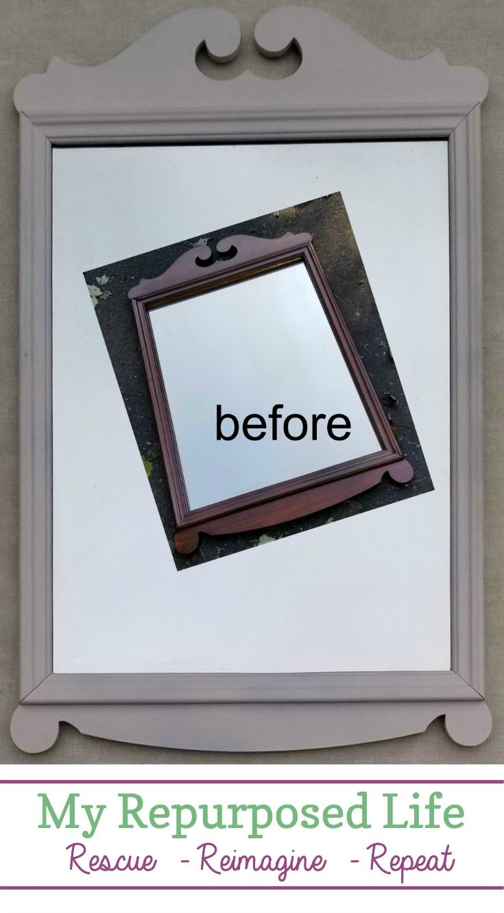 After ten years, it was time for this mirror to get a chance of a new home. The pretty refinished vintage mirror never was chosen the entire time I had it in my booth. Let's try this again! 