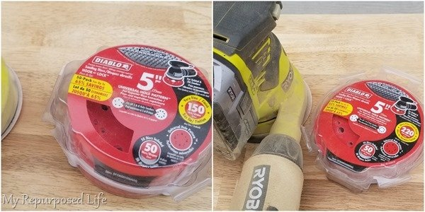 removing table finish with sander and sandpaper