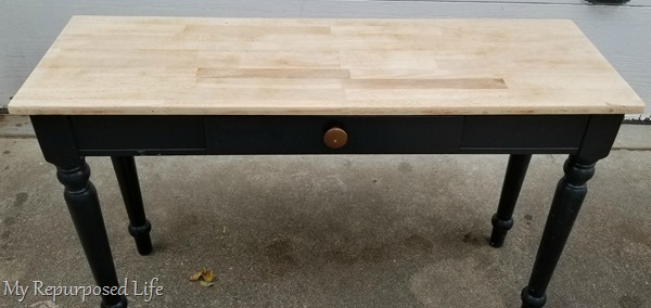 sanded table top to remove old finish