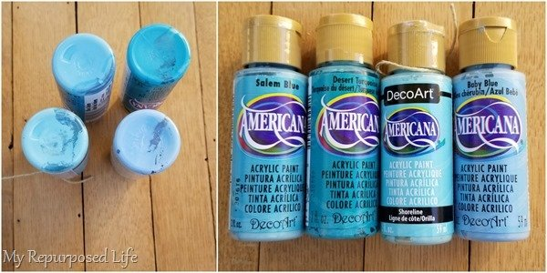 shades of blue craft paint