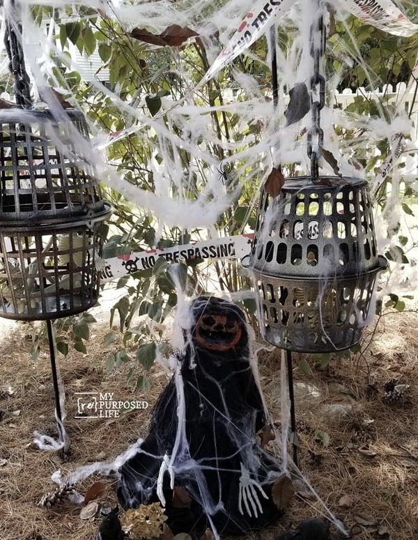 skeleton cages and scary pumpkin head MyRepurposedLife
