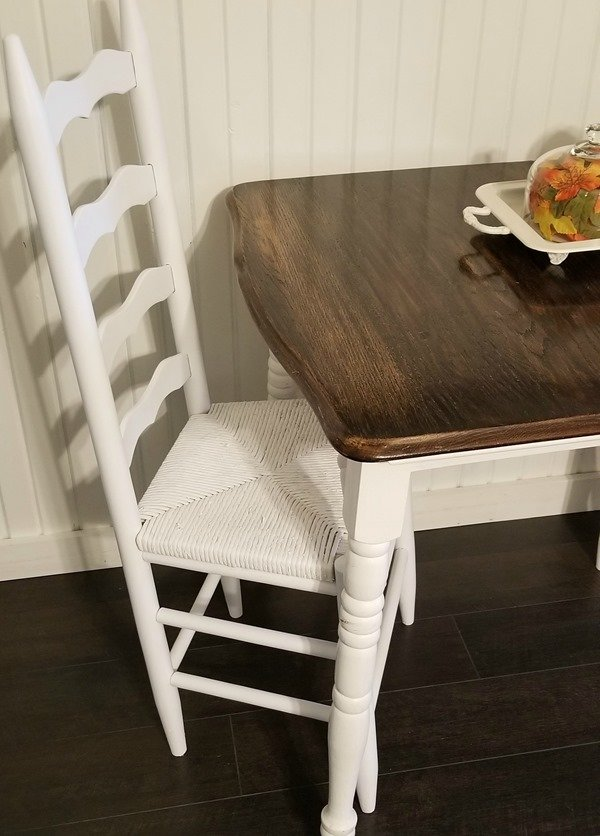white painted ladder back chair makeover
